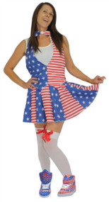 Ladies Stars & Stripes USA Uncle Sam Waistcoat Bowtie & Skater Skirt Set 8-14UK