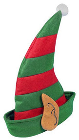 Adults Red & Green Christmas Elf Hat with Ears Xmas Party Fancy Dress Accessory