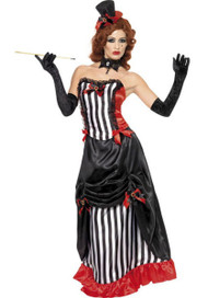 Ladies Small Deluxe Madame Vampire Black & White Halloween Fancy Dress Costume
