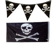"Pirates 12ft Bunting Flag & Large 5 x 3"" Skull & Crossbones Jolly Roger Flag Set"
