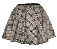 Ladies Thompson Camel Tartan Full Circle Skater Skirt With Elasticated Waistband