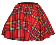 Ladies Red Royal Stewart Tartan Full Circle Skater Skirt With Elasticated Waistband
