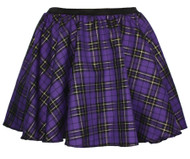Ladies Purple & Gold X-Mas Tartan Full Circle Skater Skirt With Elasticated Waistband