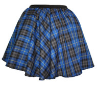 Ladies Blue Hunting Tartan Full Circle Skater Skirt With Elasticated Waistband