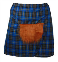 The Dragons Den Blue Hunting Scottish Tartan Kilt & Sporran Fancy Dress