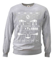 Grey Cheesy Christmas Star Sweatshirt White Galaxy Wars Nordic Sweatshirt Gift