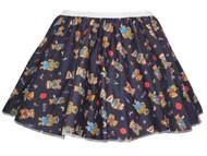 """Ladies Navy Blue Cute Teddy Bear 15"""" Printed Skater Skirt Fancy Dress"""