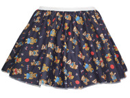 "Childrens Age 8-12 Navy Blue Teddy Bear 15"" Printed Skater Skirt Fancy Dress"