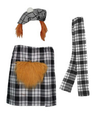 The Dragons Den Black & White Erskine Scottish Tartan Kilt Fancy Dress Costume Set