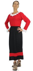 Ladies Black & Red Olive Oyle Costume Damsel in Distress Fancy Dress