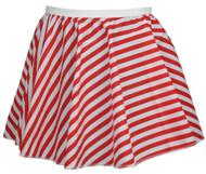 "Ladies Red & White Full Circle 15"" Candy Cane X-Mas Skater Skirt"