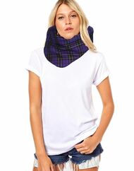 Unisex Adults Purple Gold Tartan Snood Burns Night Fancy Dress Accessory