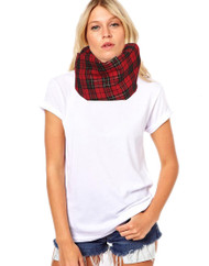 Unisex Adults Red Gold Tartan Snood Burns Night Fancy Dress Accessory