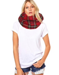 Unisex Adults Red Royal Stewart Tartan Snood Burns Night Fancy Dress Accessory