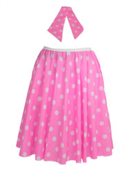 "Ladies 22"" Baby Pink & White Polka Dot Rock & Roll Skirt & Necktie Fancy Dress"