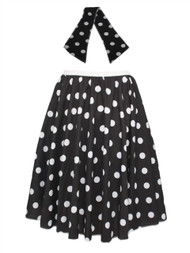 "Ladies 22"" Black & White Polka Dot Rock & Roll Skirt & Necktie Fancy Dress"