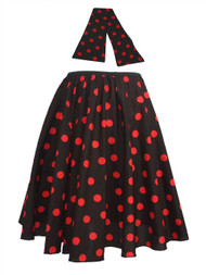 "Ladies 22"" Black & Red Polka Dot Rock & Roll Skirt & Necktie Fancy Dress"