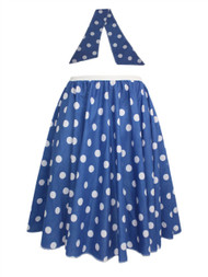 "Ladies 22"" Blue & White Polka Dot Rock & Roll Skirt & Necktie Fancy Dress"