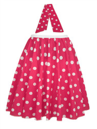 "Ladies 22"" Cerise Pink & White Polka Dot Rock & Roll Skirt & Necktie Fancy Dress"