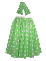 "Ladies 22"" Lime Green & White Polka Dot Rock & Roll Skirt & Necktie Fancy Dress"