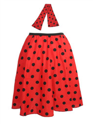 "Ladies 22"" Red & Black Polka Dot Rock & Roll Skirt & Necktie Fancy Dress"