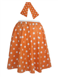 "Ladies 22"" Orange & White Polka Dot Rock & Roll Skirt & Necktie Fancy Dress"