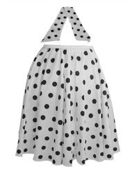 "Ladies 22"" White & Black Polka Dot Rock & Roll Skirt & Necktie Fancy Dress"