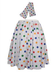 "Ladies 22"" White & Multi Polka Dot Rock & Roll Skirt & Necktie Fancy Dress"