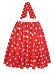 "Ladies 22"" Red & White Polka Dot Rock & Roll Skirt & Necktie Fancy Dress"