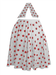 "Ladies 22"" White & Red Polka Dot Rock & Roll Skirt & Necktie Fancy Dress"