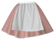 Ladies Red Gingham Skater Skirt With Apron COWGIRL Barn Dance Harvest Fancy Dress
