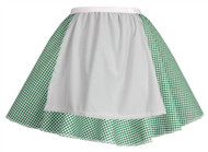 Ladies Green Gingham Skater Skirt With Apron COWGIRL Barn Dance Harvest Fancy Dress