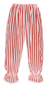 Adults Long Red & White Vertical Stripe Steampunk Bloomers Victorian Fancy Dress