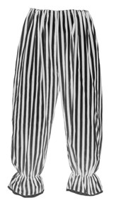 Adults Long White & Black Vertical Stripe Steampunk Bloomers Victorian Fancy Dress