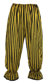 Adults Long Yellow & Black Vertical Stripe Steampunk Bloomers Victorian Fancy Dress