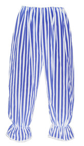 Adults Long Blue & White Vertical Stripe Steampunk Bloomers Victorian Fancy Dress