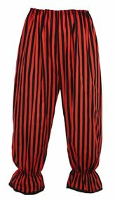 Adults Long Red & Black Vertical Stripe Steampunk Bloomers Victorian Fancy Dress
