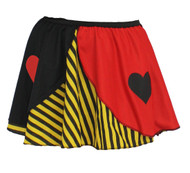 "Ladies Queen of Hearts Yellow Striped 15"" Skater Skirt Wonderland Fancy Dress"
