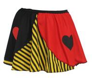 "Ladies Queen of Hearts Yellow Striped 15"" Skater Skirt Wonderland Fancy Dress"