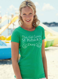 Ladies 'This Girl Loves St Patricks Day' Irish Green Ireland TShirt