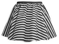"""Ladies 15"""" Black & White Striped Full Circle Skater Skirt Burlesque Fancy Dress"""