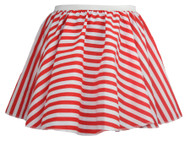 "Ladies 15"" White & Red Striped Full Circle Skater Skirt Candy Fancy Dress"