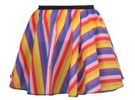 """Ladies 15"""" Multi Coloured Striped Full Circle Skater Skirt LGBT Fancy Dress"""