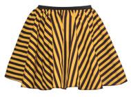 "Ladies 15"" Black & Yellow Striped Full Circle Skater Skirt Burlesque Fancy Dress"