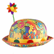 Adults Multi-coloured Bright Floral Flower Fancy Dress Clown Bowler Hat