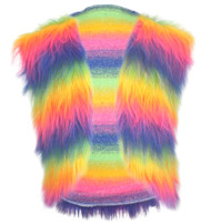 Adults Mulit-Coloured Faux Fur Waistcoat Gay Pride LGBT Hippy Fancy Dress