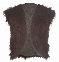 Adults Dark Brown Viking Faux Fur Waistcoat Mountain Man Fancy Dress
