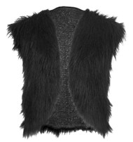 Adults Black Genghis Khan Faux Fur Waistcoat Mongal Emporer Fancy Dress