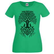 Ladies Tree Of Life Heart Spiritual Pagan Green T-Shirt