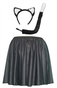 "Womens Black 15"" Kitty Cat Skater Skirt & Accessory Kit"